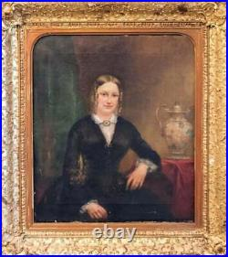 Antique Painting, Oil, Portrait of a Lady 19th C. English School, Handsome Art