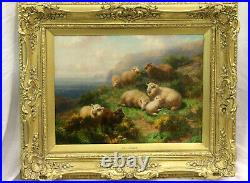 Antique Victorian Oil Painting. William RC Watson. Sheep in Scotland