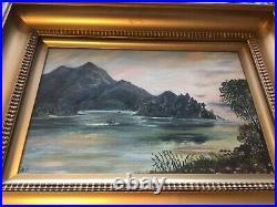 Antique Victorian gilt framed original signed oil painting on canvas
