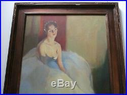 Antique Vintage Oil Painting Large Portrait Female Woman Model Ballet Dancer