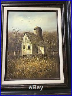 Antique William Newport oil on canvas-farmhouse barn-1920's-Beautiful
