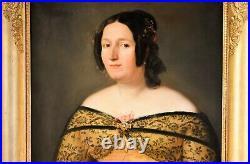 Antique Woman Portrait, 19th Century French Painting, Oil Canvas Portrait C. 1840