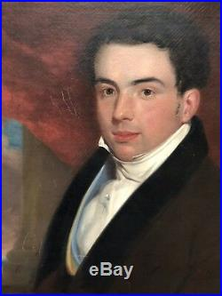 Antique c1830s Fine PORTRAIT Painting HANDSOME GENTLEMAN Oil on Canvas AMERICAN