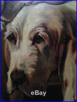 Antique oil painting 19th century Braques Hunting dogs French school To Restore