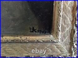 Antique vintage gilt framed 1900s original signed oil painting on canvas