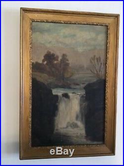 Antique vintage gilt framed very old original oil painting Warerfall on canvas