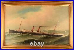 Antonio Jacobsen La Navarre liner (1893-1925) from Transat. Oil on canvas