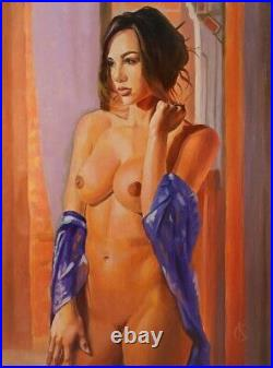 Art Oil painting, nude Girl Woman, original handmade, canvas 12 × 16 inches