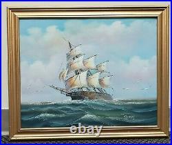 At Sea Hand Painted Original Oil Painting by Thomas Ship Sailor Nautical Captain