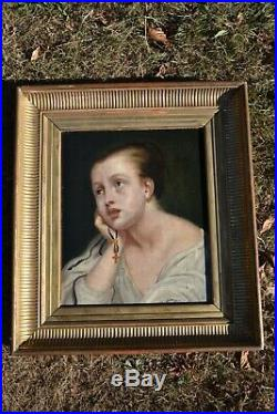 Auguste Toulmouche (1829-1890) Signed French Oil Canvas Woman Portrait Authentic