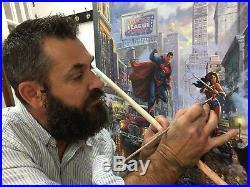 Batman Superman & Wonder Woman Kinkade Studios 30 X 45 Original Oil on Canvas