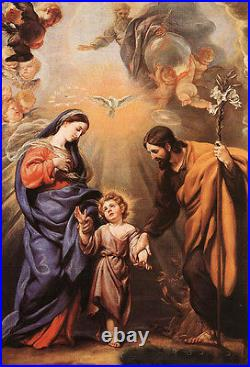 Beautiful Oil painting Holy Family Madonna with Christ angels bird canvas 36