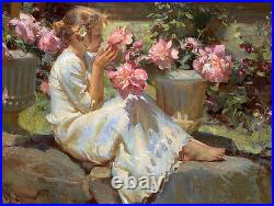 Beautiful Oil painting Nice Young girl smell the flowers hand painted canvas 36