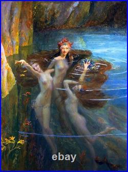 Beautiful Oil painting nude grls Bussiere Gaston The Nereides in ocean landscape