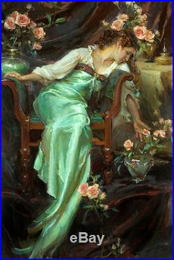 Beautiful Oil painting portrait Young girl seated with roses flowers canvas 36