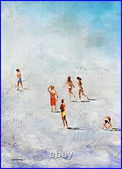 Blue Summer Beach, Seascape Wall Art, Signed Seascape, Original Oil Painting