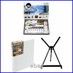 Bob Ross Master Artist Oil Paint Set Includes Aluminum Table Easel & 2-Pack