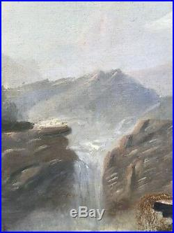 C1870 Hudson River School Painting With Native Americans By Charles Lanman