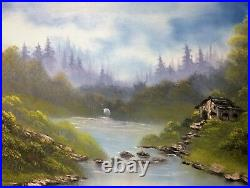 Cabin on the Lake Bob Ross style original oil painting on canvas