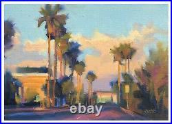 Carl Dalio ORIGINAL Fine Art Oil Painting 5x7 Cityscape Palms California