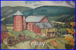 Depression-era Amercian Regionalist Farmscape Painting Signed