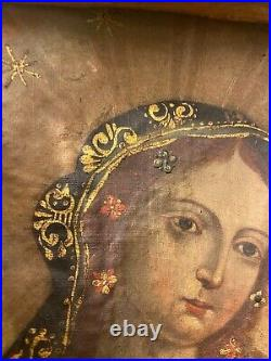Devotional Madonna Virgin Mary 18th century Colonial Spanish oil painting