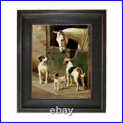 Dog and Horse at Stable Framed Oil Painting Print on Canvas