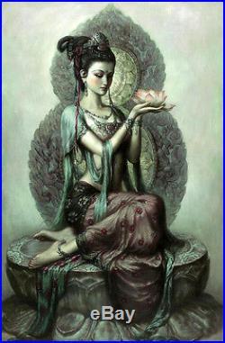 Dream-art Oil painting Avalokitesvara Guanyin holding a lotus flowers canvas 36
