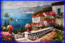 Dream-art Oil painting summer Mediterranean sea landscape with flowers canvas