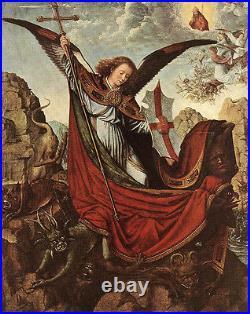 Dream-art oil painting angel girl Altarpiece of St Michael David Gerard 24x36