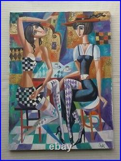 ELENA KHMELEVA b1966 large original signed canvas oil painting cubist'Damiers