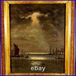 Early 20th C Tonalist Oil Painting of a Harbor