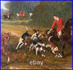 English Hunting/Hunt Party With Hounds Oil Painting-James Clark
