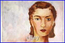 FEMALE PORTRAIT VINTAGE OIL PAINTING 1950s IMPRESSIONIST PASTEL COLORS