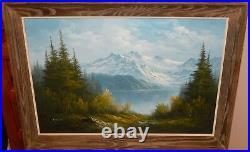 Franke Large Original Oil On Canvas Snow Mountain Landscape Painting
