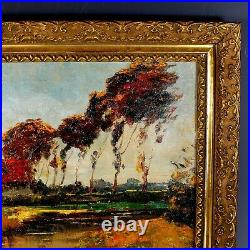 French School Impressionist Landscape Oil Painting signed
