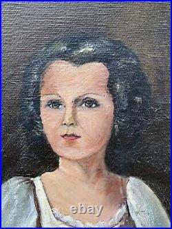 Girl With Bird 1935 Renaissance Style Female Portrait Antique Folk Oil Painting
