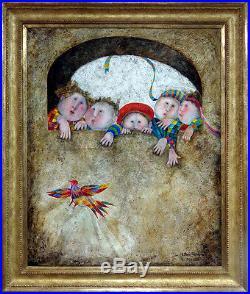 Graciela Rodo Boulanger Original Oil Painting L'Oiseau Qui S'envole with frame