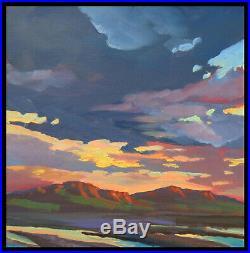 HAWKINS Golden Sunset Clouds Desert Fine Art Impressionism Original Oil Painting