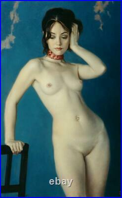 Hand painted Original Oil Painting art Portrait nude girl on canvas 24X36