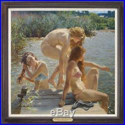 Hand painted Original Oil painting art Portrait swim girl on Canvas 30X30