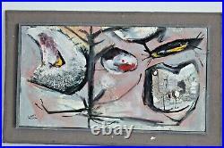 Harold Laynor Vtg Mid Century Modern Art Bird Mixed Media Oil Painting New York