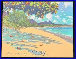 Hawaii Oil Pastel Painting Waimanalo Beach & Olomana' by Russell Lowrey
