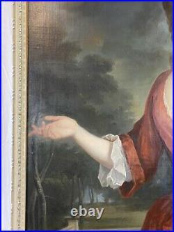 Huge Antique 18th C. English Portrait Noble Lady Courtyard Oil Painting c. 1725