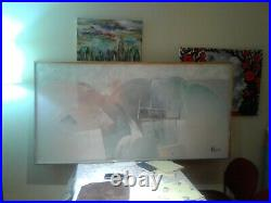 Huge Signed Lee Reynolds abstract painting wood framed 31x60