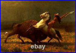 Huge art Oil painting The Last of the Buffalo horseman with Wild ox canvas 36
