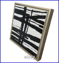 Hungryartist-NY artist Framed modern original abstract black white oil painting