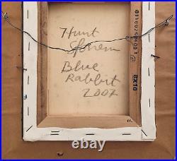 Hunt Slonem Blue Rabbit 2007 Signed Framed by Artist American Fine Art