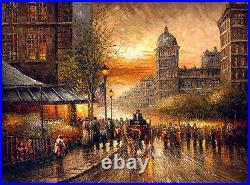 Impressionism Oil painting landscape Paris Street scene sunset cityscape 36