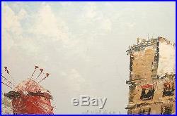 J. Bardot Moulin Rouge Market Paris Street Scene Oil On Canvas Painting